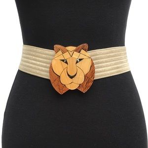 Wood Inlay Lion Cat Face Buckle Tan Stretch Belt